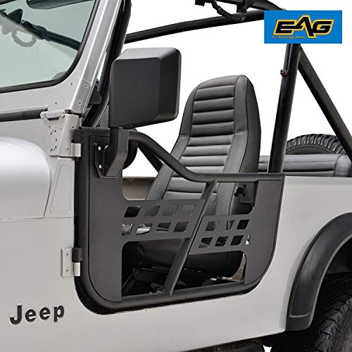 EAG Safari Tubular Door with Side View Mirror Fit for 76-96 Jeep Wrangler CJ7 / YJ ()