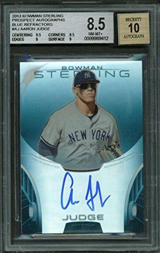 Auto Retractor - 2013 Bowman Sterling Blue Retractor Auto Signed Aaron Judge /25 BGS 8.5 10