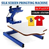 Happybuy Screen Printing Machine Press 1 Color 1 Station Silk Screen Printing Machine Adjustable Double Spring Devices(1 Color 1 Station)