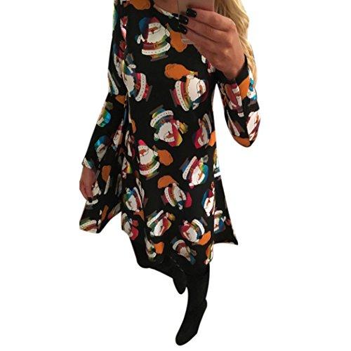 Womens Xmas Christmas Elk Santa Snowflower Festival Party Dress (XL, Black (Halloween 30th Anniversary Box Set Blu Ray)