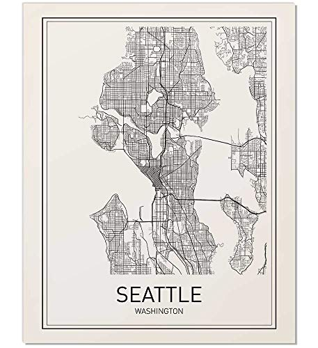 Seattle Map Print, Seattle Poster, Seattle Map, Map of Seattle, City Map Posters, Washington Print, Washington, Modern Map Art, Black and White, Minimalist Poster, Scandinavian Poster, 8x10