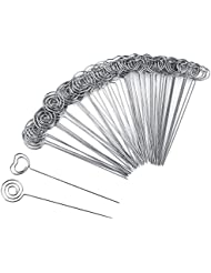 willbond 60 pieces metal wires memo clip note card holders table number clip photo stand for wedding party cake decor round and heart shape silvery
