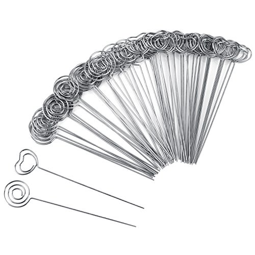 Willbond 60 Pieces Metal Wires Memo Clip Note Card Holders Table Number Clip Photo Stand for Wedding Party Cake Decor, Round and Heart Shape, Silvery (Wedding Place Cake Holder Card)