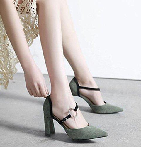 KUKI Dick mit Wildleder Kampf Farbe Wort wies spitz weiblichen Sandalen High Heels Schuhe 4