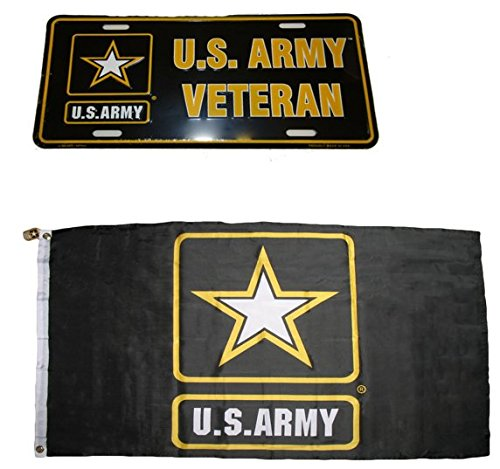 Patriotic U.S. Army Vet Veteran Black Star Flag 6