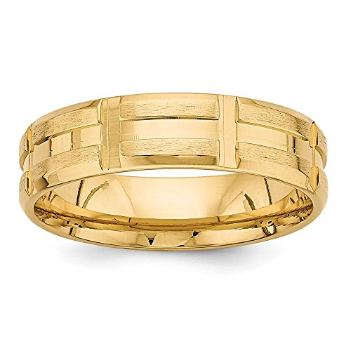 14k Yellow Gold Standard Comfort Fit Fancy Band by Saris and Things