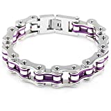 Morenitor Stainless Steel Motorcycle Bike Chain Bracelet with Rhinestones Mothers Day Gifts for Women Men (Style E)
