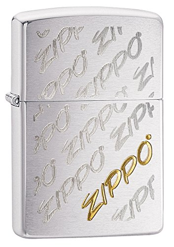 Zippo Logo Pattern Pocket Lighter, Brushed Chrome (Brushed Chrome Design)