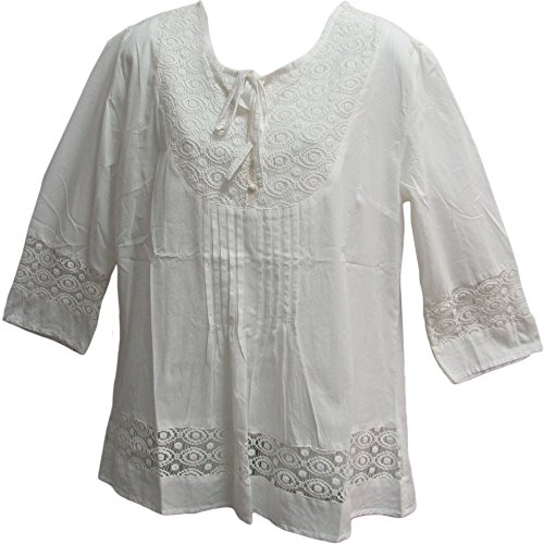 Yoga Trendz Missy & Plus Indian Cotton Lace 3/4 Sleeve Peasant Blouse Top (Large, White)