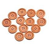 "HOUSWEETY 50PCs Light Coffee 4 Holes Round Wood Sewing Buttons 25mm(1"") Dia."