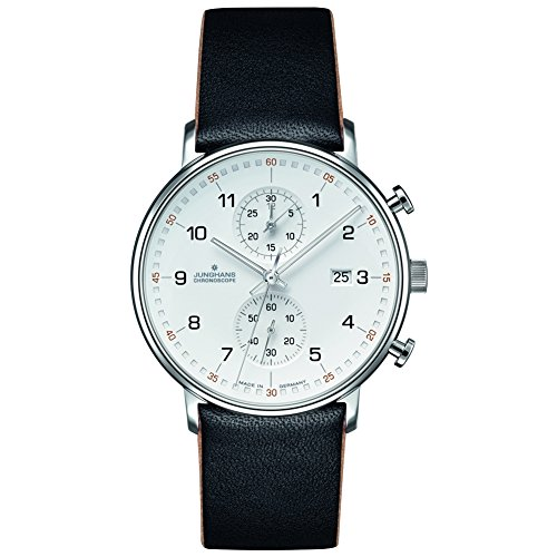Junghans Form C Chronoscope Quartz Matt Silver Watch | Black Calfskin 041/4771.00