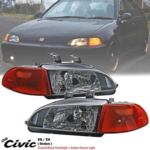 Crystal Black Headlight + Amber Corner Light For Honda Civic EG EG9 EH 4DR 92-95