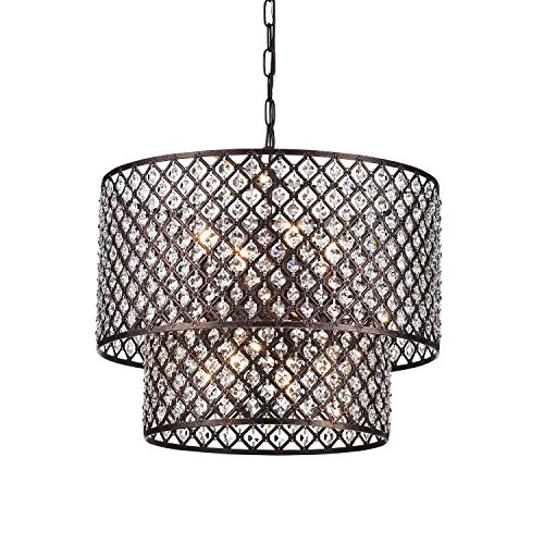 Antique Copper 2 Round Drum Shades 8-light Crystal Chandelier Ceiling Fixture For Sale