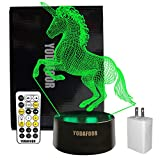 YODAFOOR Unicorn Touch Lamp 3D Illusion Night Light Children Lamps Birthday Anniversary Christmas Party Gift Bedroom Bedside Table Desk Decor 7 Color Nursery Lighting