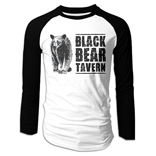 Creamfly Mens Black Bear Poster Long Sleeve Raglan Baseball Tshirt - Shop Me Toms Near