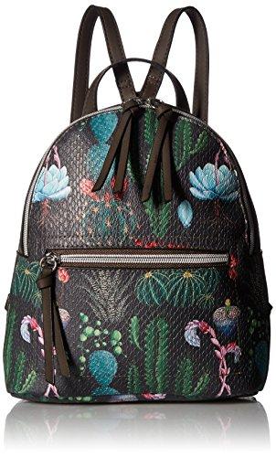 T-Shirt & Jeans Cactus Print Back Pack, Brown - Print Backpack Handbags