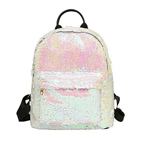 Amazon.com: Joopee Women Sparkling Backpack Fashion School Bag Sequins Travel Satchel Shoulders Bag (White): Home & Kitchen