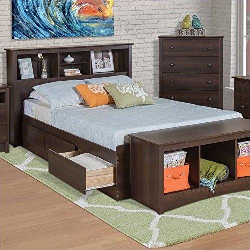 Prepac Manhattan Bookcase Platform Storage Bed in Espresso Finish - Queen (Captain Storage Platform Queen)