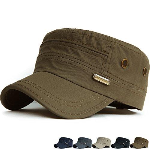 Rayna Fashion Unisex Adult Flat Top Cadet Cap GI Army Patrol Military Beach Hat
