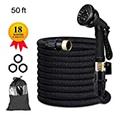 Candywe 50FT Expandable Garden Hose, Flexible Expanding Water Hose with 8 Function Spray Nozzle, Double Latex Core,3/4 Solid Brass Fittings,Storage Bag for Watering Plants, Car, Pet and Cleaning