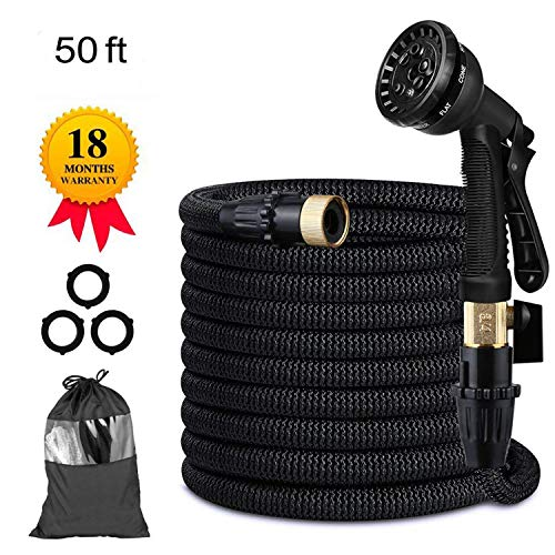 Vivibel 50FT Expandable Garden Hose, Flexible Expanding Water Hose with 8 Function Spray Nozzle, Double Latex Core,3/4 Solid Brass Fittings,Storage Bag for Watering Plants, Car, Pet and Cleaning by Candywe