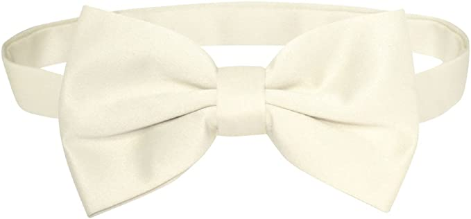 New in box men/'s self tied bowtie solid 100/% polyester formal ivory