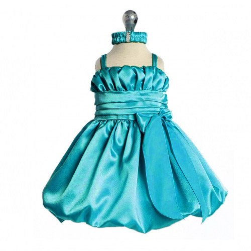 Baby Turquoise Special Occasion Dress with Headband (3M to 24M)