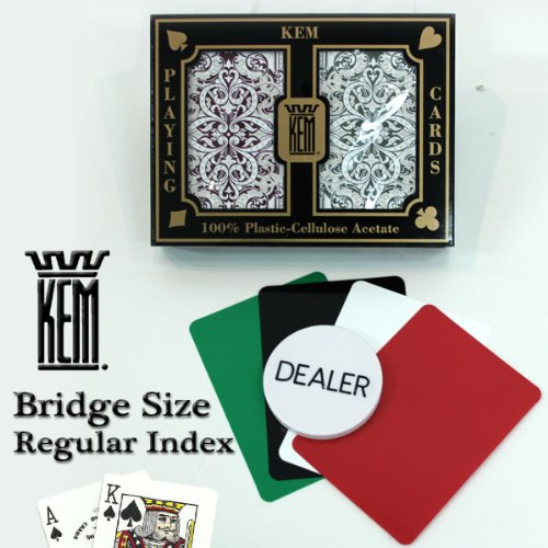 Kem Jacquard Burgundy/green Bridge Size Regular Index 100% Plastic Playing Cards with Free Dealer Button, 4 Free Cut Cards and Replacement Request Form