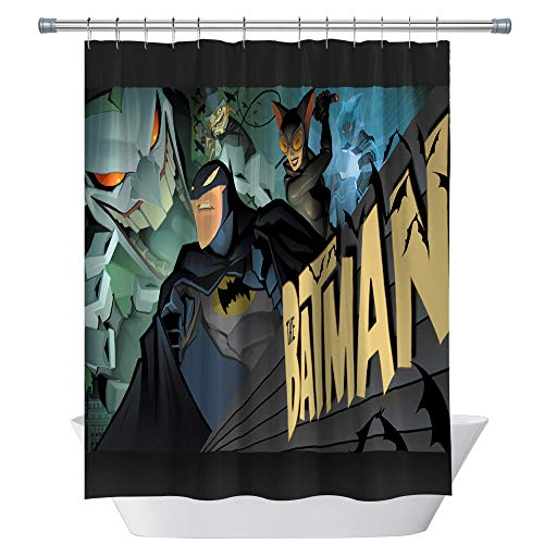 CHENGHUI Cartoon Shower Curtain Waterproof Polyester Captain America First Avenger Winter Soldier Decor Sets with Hooks,Green Blue Yellow