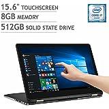 Dell Inspiron 15 15.6 i7568-6200BLK 2-in-1 Touchscreen Laptop Intel Core i7-6500u | 8GB RMA | 512GB SSD | 4K Ultra HD (3840 x 2160) Display | Backlit Keyboard | Windows 10