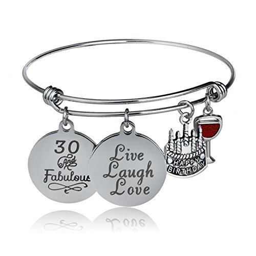 YeeQin Happy Birthday Bangles, Cake Cheer Live Laugh Love Charms Bangle Bracelets, Gifts for Her (30th Birthday) (30th Birthday Gift Ideas For Best Friend)