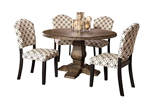 Lorient 5-Piece Round Dining Set with Parsons Chairs