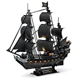 CubicFun 3D Pirate Ship Puzzle for Adults Sailboat Vessel Model Kits with Led Lights, Large Black Queen Anne's Revenge watercraft kit Birthday Gift for Men as Hobby, 340 Pieces