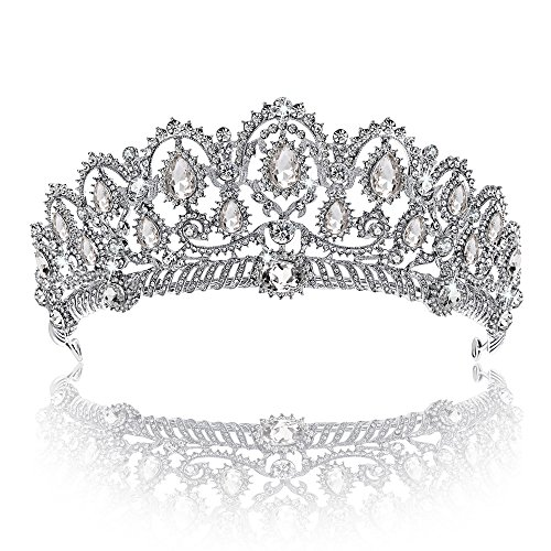 Crown, Tiara, YallFF Prom Queen Crown Quinceanera Pageant Crowns Princess Crown Rhinestone Crystal Bridal Crowns Tiaras for Women]()