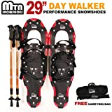 "New MTN Man Woman Kid Youth 29"" Red YP Snowshoes with GOLD Nordic Walking Pole Free Bag"