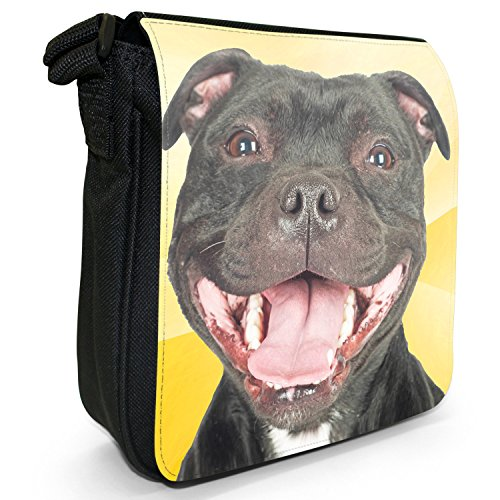 Staff Dog Bag Terrier Black Smiling Small Staffordshire Canvas Bull Happy Staffy Shoulder Size zqxWwqCgnI