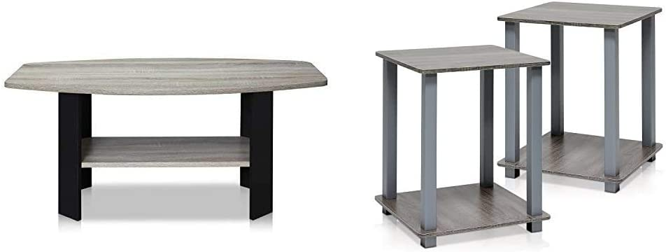 FURINNO Simple Design Coffee Table, French Oak Grey/Black & Simplistic End Table, French Oak Grey/Grey