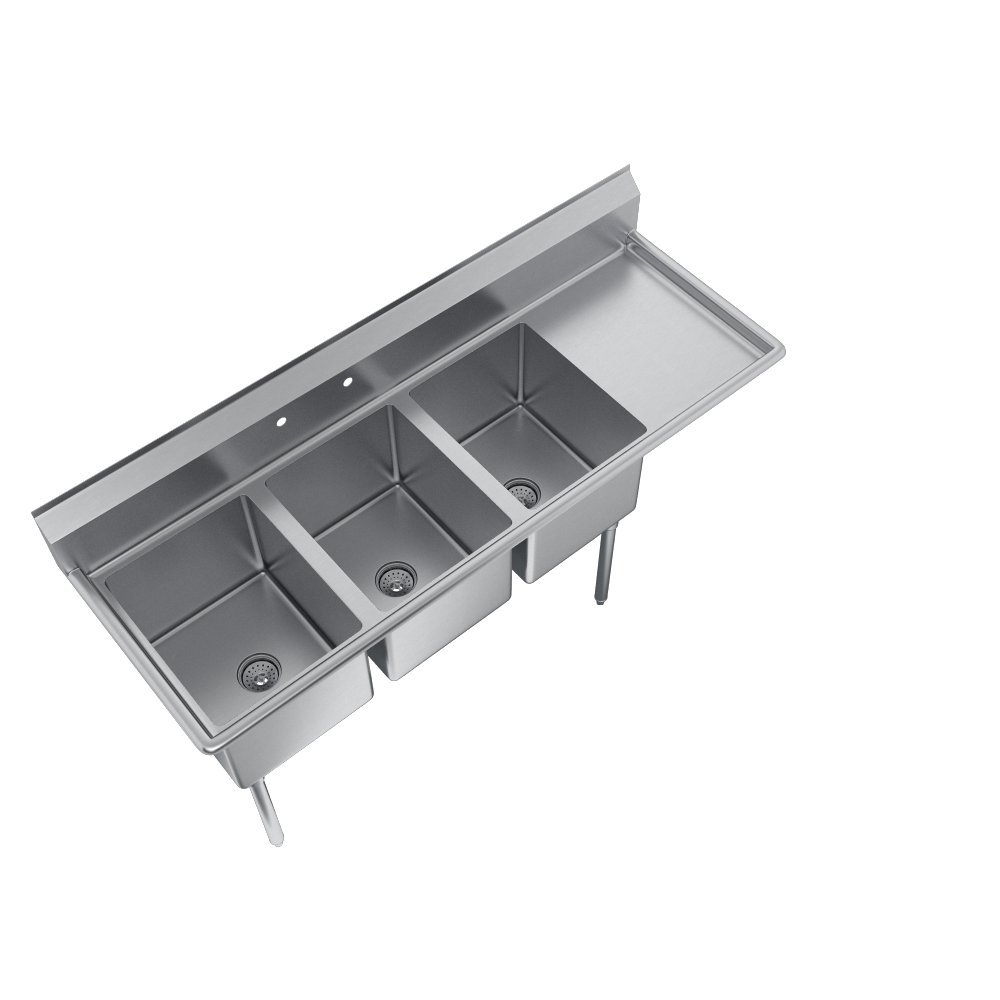 E-Series 3-Compartment Sink, 18'' right drainboard by Elkay (Image #4)
