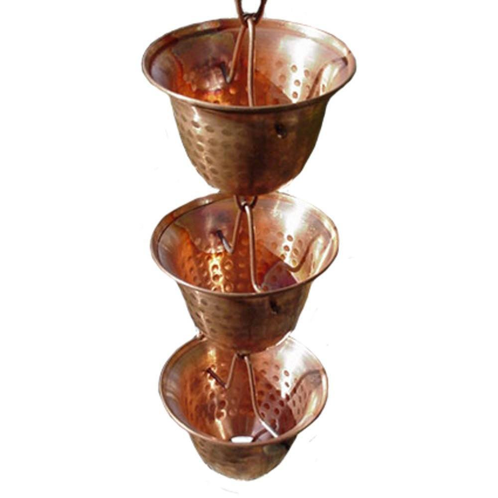 Nutshell Stores Copper Bells Rain Chain with Installation Kit (12 Foot)