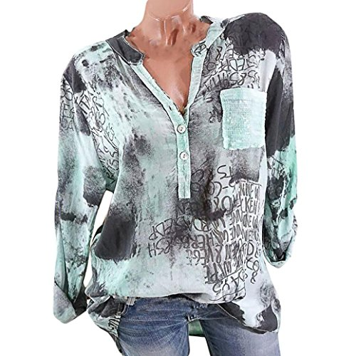 Spbamboo Women Printing Stand Long Sleeve Button Plus Size Blouse Top T-Shirt by Spbamboo