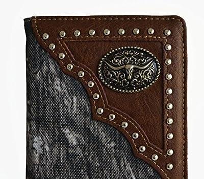 men brown gray camo mossy oak longhorn outdoor secretary bifold slim tall long wallet