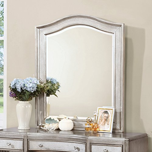 Bling Game Arched Top Vanity Mirror Metallic Platinum