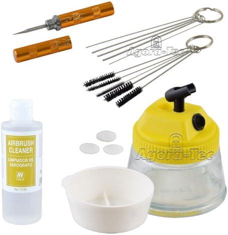 Agora Tec At Airbrush Clean Reinigungs Zubehör Set Bestehend Aus Cleaning Pot 5 Reinigungsbürsten 5 Reinigungsnadeln Reamer 200ml Vallejo Airbrush Cleaner Baumarkt