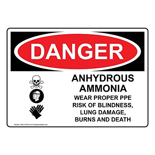 ComplianceSigns Vinyl OSHA DANGER Label, 10 x 7 in. with Ammonia Info in English, White