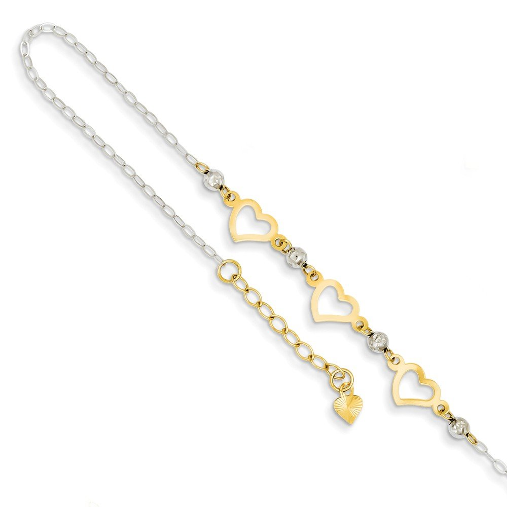 Solid 14k Gold Two-tone Oval Link with Diamond-Cut Beads & Heart with 1in Ext Anklet 9'' (1mm)