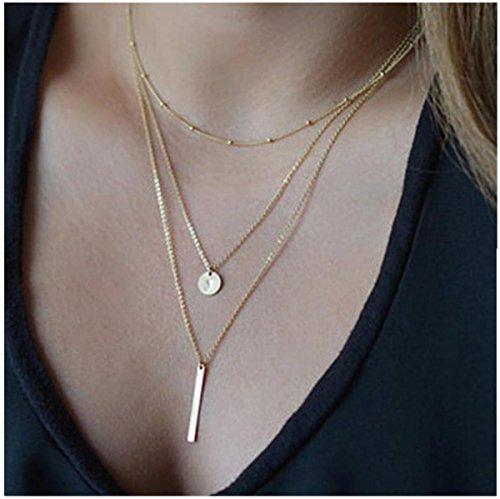 Bestpriceam Hot Sale Womens Simple Elegant Short Chain Necklace Bang Bang Multilayer Pendant (Gold)