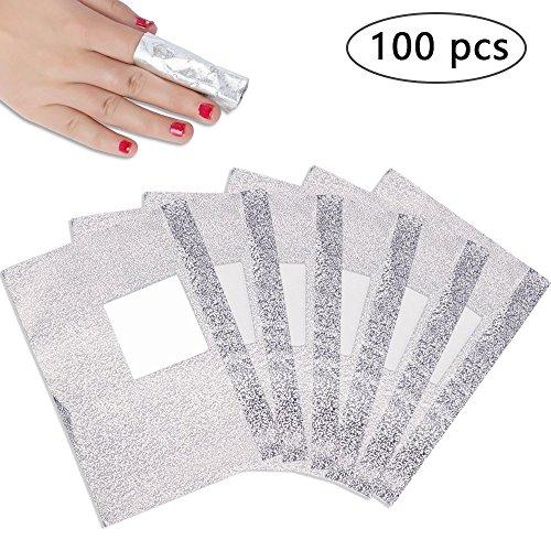 PrettyDiva Nail Polish Remover Soak Off Gel/Shellac Remover Foils Nail Wraps with Cotton Pad(100 Pcs)