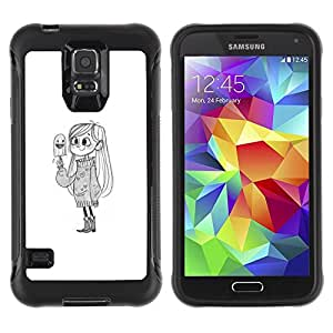 Suave TPU GEL Carcasa Funda Silicona Blando Estuche Caso de protección (para) Samsung Galaxy S5 V / CECELL Phone case / / cute girl bird white kids drawing pencil /