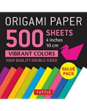 """Origami Paper 500 sheets Vibrant Colors 4"""" (10 cm): Tuttle Origami Paper: High-Quality Double-Sided Origami Sheets Printed with 12 Different Colors"""