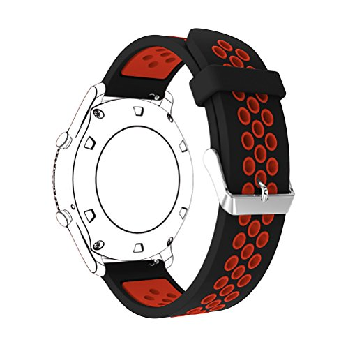 22mm Silicone Replacement Band for Samsung Gear S3 Frontier Sports Watch Band Strap Bracelet for Samsung Gear S3 Classic Frontier Smart Watch (Black Red) by Flyeagle168 (Image #1)
